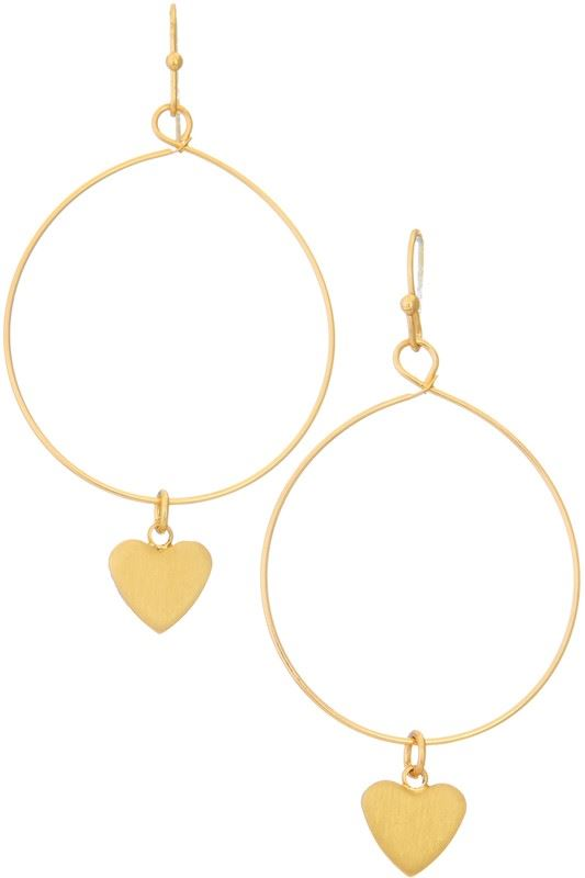 Golden Asp Gold Heart Hoop Earring