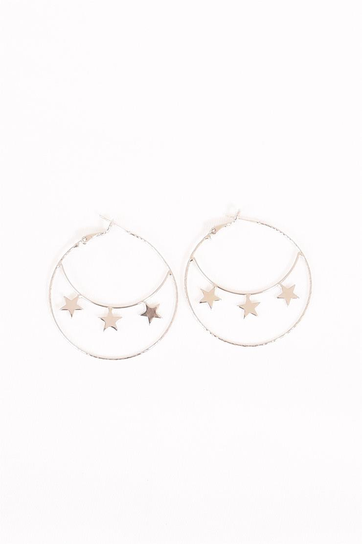 Golden Asp Shining Star Hoop Earrings