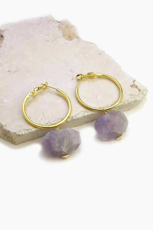Golden Asp Gemstone Hoop Earring